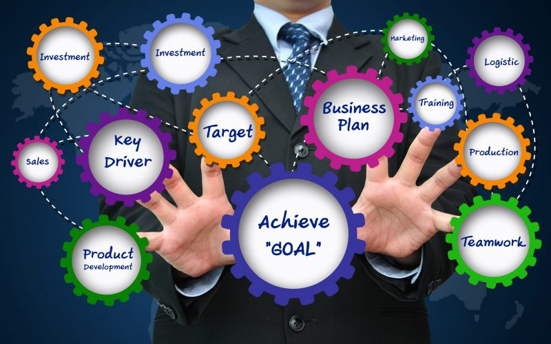 Business Growth Strategy - Mans hands open with cogs filled with business related words.